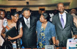 Novembre 2010; Cotonou (Bénon), avec Juliana Lumumba, Jean Ping (Président de la Commission de l'Union Africaine) et Roland Lumumba