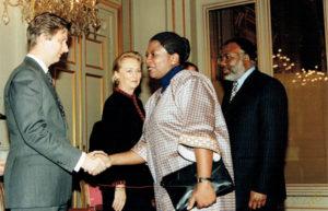 Janvier 1998: Réception du nouvel an, arrivée au Palais Royal de Bruxelles, avec Philippe, Prince de Belgique